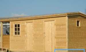 Хозблок с душем и туалетом. Сооружение фундамента. Сборка конструкции. Устройство односкатной крыши. Отделка