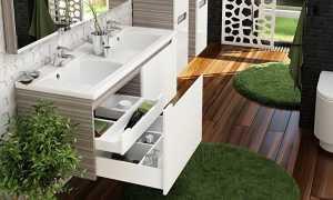 Тумба с раковиной для ванной комнаты в современном интерьере